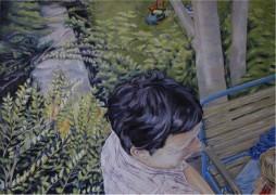 Schlafender Kater 50/70 cm Öl auf Leinwand 2010